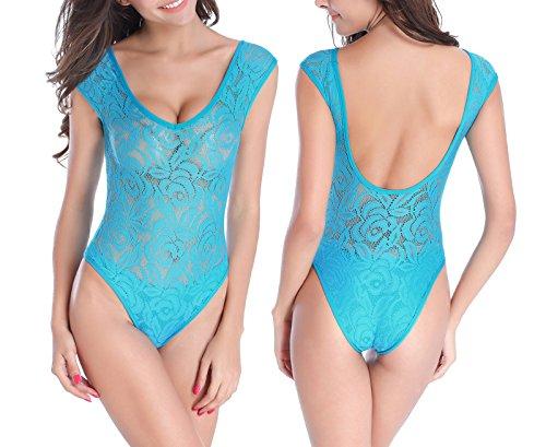 Sayue traje de baño del traje de baño de la vendimia del traje de baño del bodysuit de las mujeres Azul