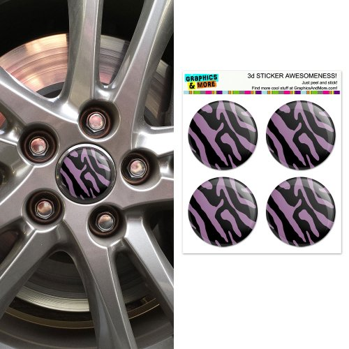 Zebra Decal Set (Zebra Print Black Purple Wheel Center Cap 3D Domed Stickers Badges - Set of 4)