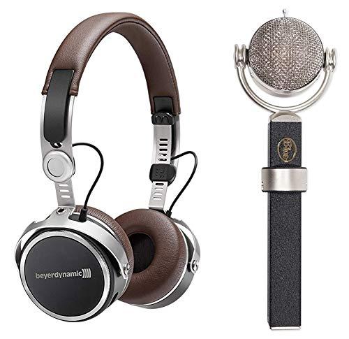 Blue Dragonfly Condenser Microphone Mic+Brown Beyerdynamic Wireless Headphones