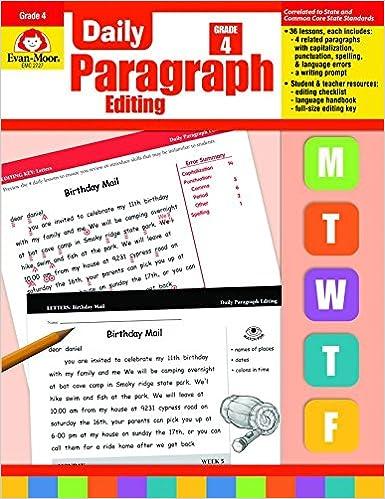 Amazon Daily Paragraph Editing Grade 4 0023472027276 Evan