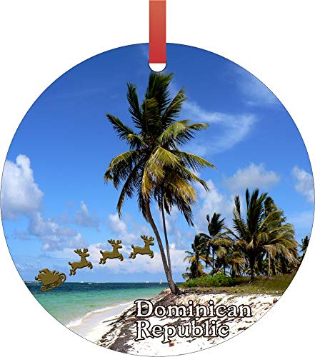 Santa Klaus and Sleigh Riding Over Punta Cana Beach Dominican Republic Double Sided Flat Round Shaped Ornament Xmas Tree Christmas Dcor - Christmas Room Dcor and Ornament Yard Decorations