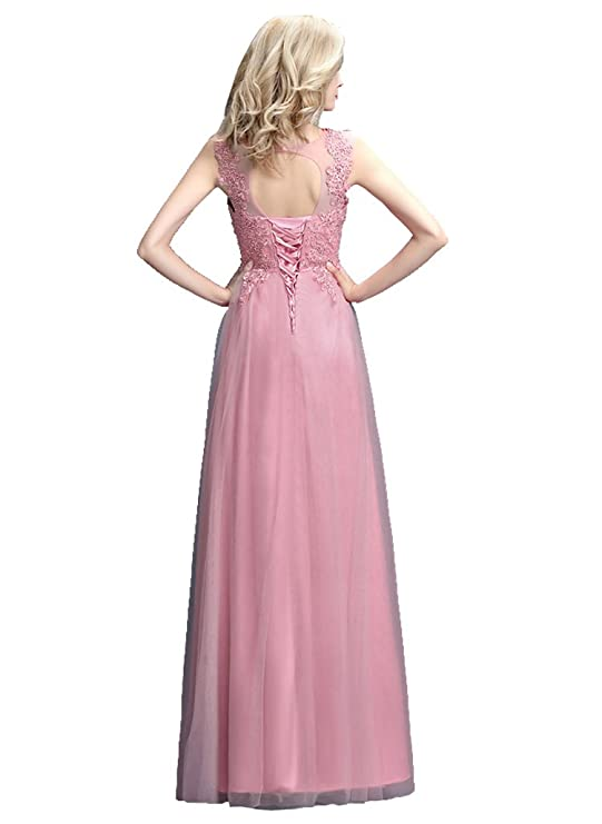 Amazon.com: Beauty-Emily Maxi A-Line Lace Up Long See-Through Evening Dress: Clothing
