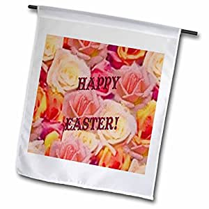 Sandy Mertens Easter - Happy Easter Roses in Texture - 18 x 27 inch Garden Flag (fl_42934_2)