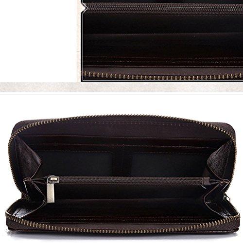 Mens Wallet Di Iphones Zhhlaixing Zipper Lusso Brown Portafoglio Soft Leather Handbag Cowhide Fit UROBtOqwxv
