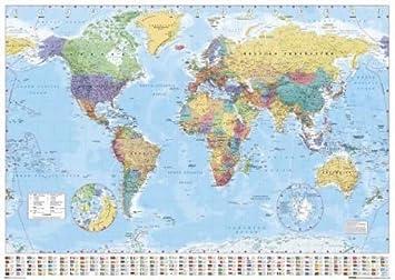 Carte du monde avec drapeaux Poster Grand Format 91.5 x 61 cm