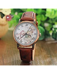 Watches, Fashion Unisex World Map Watch Relogio Feminino Women Watches Quartz Watches Reloj Mujer ( Color : Brown , Gender : For Lady )