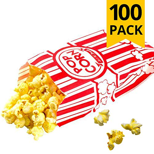 Carnival Style Paper Popcorn Bags, 1oz bags, Red & White Striped, Movie Theater Popcorn Bags (100 Pieces)