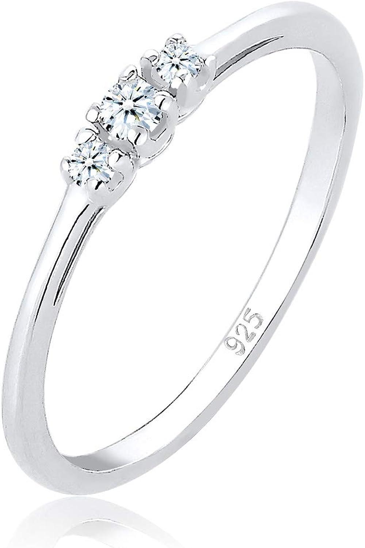 Elli PREMIUM Anillos Compromiso para Mujer con Diamantes 0,07quilates Confeccionado en Plata de Ley de 925