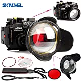 SONOVEL Meikon 40M/130f Underwater Waterproof Camera Housing Diving Case for Sony A6000 Camera + 67mm Red Filter + 67mm Optical Fisheye Wide Angle Lens Dome Port