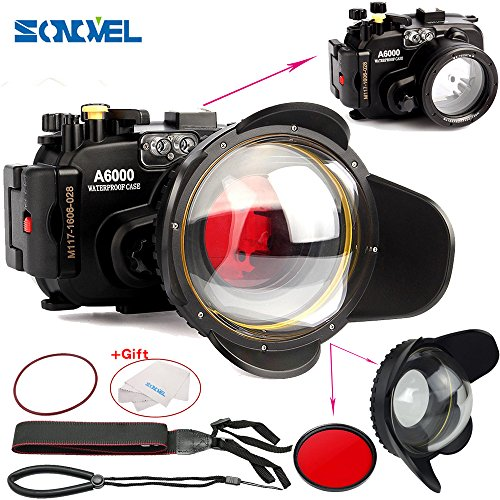 SONOVEL Meikon 40M/130f Underwater Waterproof Camera Housing Diving Case for Sony A6000 Camera + 67mm Red Filter + 67mm Optical Fisheye Wide Angle Lens Dome Port by sonovel
