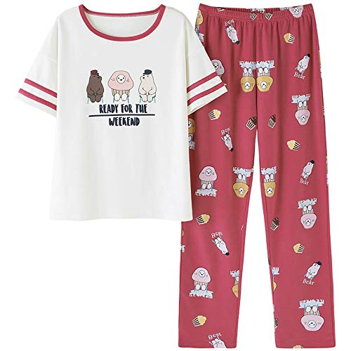 Jashe Big Girls Summer Pajama Set - Short Sleeve Tee & Pants Panda Sleepwear PJS Kids Size 14 16 18