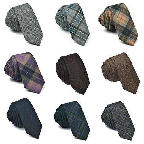 9ce0be63 VOBOOM Mens Necktie Skinny Tie Tweed Pattern Woolen Neck Tie-many colors