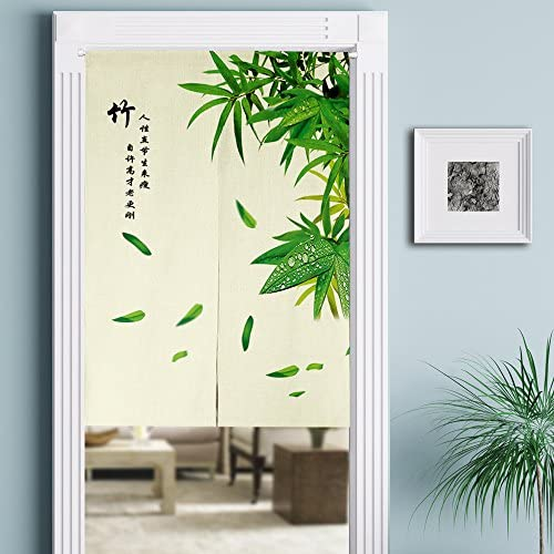 MYRU Japanese Noren Doorway Curtain Tapestry Entrance Feng Shui Door Curtain Green Bamboo,33.5 Inches x 59 Inches