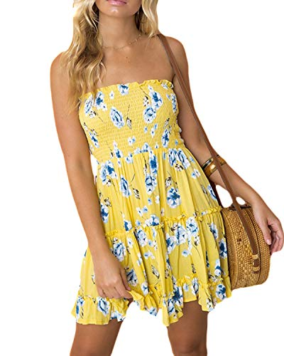 LOMON Strapless Dress Women's Floral Printed Summer Beach Party Mini Sun-Dress (Yellow,XL)