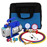 Mophorn Vacuum Pump Combo Set with Carry Tote - 3CFM 1/4HP Single Stage HVAC A/C Air Vacuum Pump...