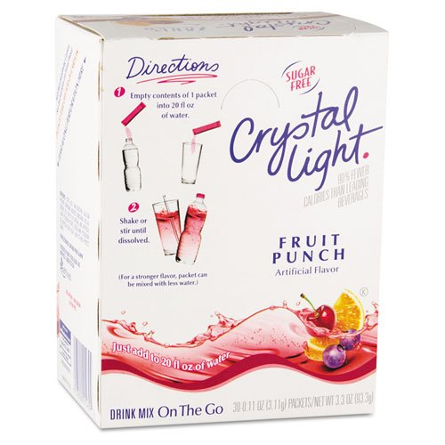 Crystal Light On the Go, Fruit Punch, .11 oz Packets, 30/Box (Boxes Ounce 0.11)