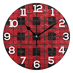 Dozili Christmas Red Black Plaid Round Wall Clock Arabic Numerals Design Non Ticking Wall Clock Large for Bedrooms,Living Room,Bathroom