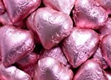 Bright Pink Foiled Milk Chocolate Hearts 5LB Bag by The Nutty Fruit House