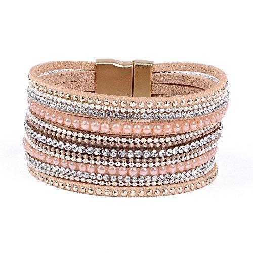 Artilady Shinning wrap Clasp Bangle for Women (Pink) ()
