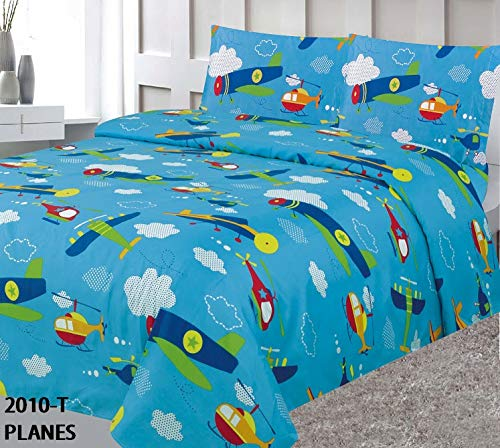 Elegant Home Multicolors Blue Airplanes Helicopter Aviation Design 4 Piece Printed Sheet Set with Pillowcases Flat Fitted Sheet for Boys/Kids # Plane (Full - Kids Bedding Airplane