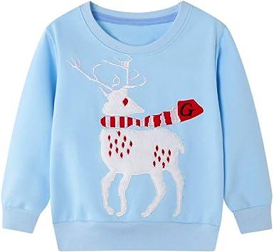 LUNULE Sudadera para Bebés Niños Niñas Suéter De Dibujos Animados Camisetas de Manga Larga De Navidad Blusas Camisas Tops Unisex Ropa De Chicas Chicos 2-7 Años: Amazon.es: Ropa y accesorios