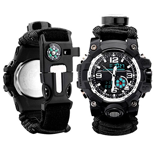Men Watch Sport Watch Survival Watch Black with Paracord/Whistle/Fire Starter/Scraper/Compass and Thermometer 6 in 1