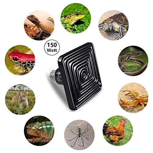D-FLIFE Professional Infrared Heat Lamp Ceramic Heater Natural Heat Emitter for Reptile Terrarium, Chick Coop and Amphibian Use (Ceramic Black)