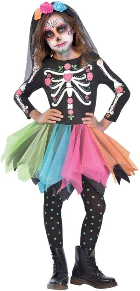 Ages 10-12 Years) - Child Girls Mexican Sugar Skull Costume (Ages ...
