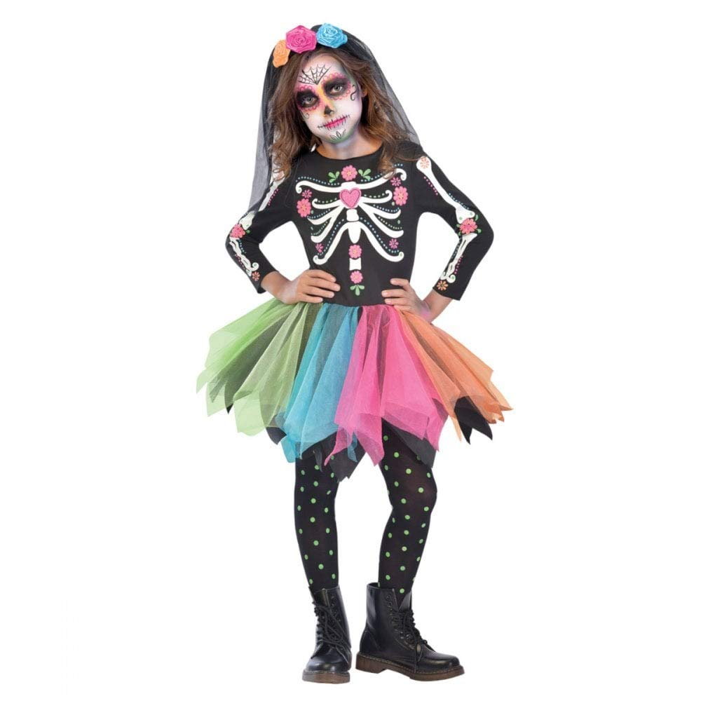 (Ages 8-10 Years) Mexican Sugar Skull Costume Age 8-10 Years