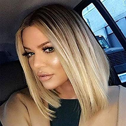 Aisi Hair Short Straight Blonde Wig Middle Part Bob Wig Ombre Blonde Wig Shoulder Length Blonde Wig Straight Bob Wig Blonde Wigs Shoulder Length Wigs For Women Amazon Co Uk Beauty