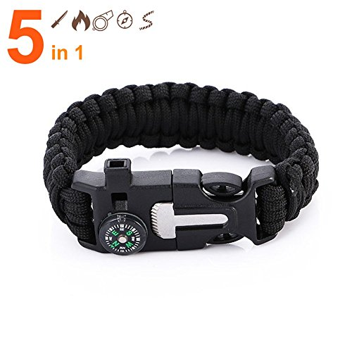 7Leon Emergency Survival Paracord Bracelet, Outdoor First Aid Kit, Rope, Compass, Flint Fire Starter, Whistle, & Emergency Knife Scraper, Buckle Design, for Camping, Fishing, Hiking, 1 Bracelet