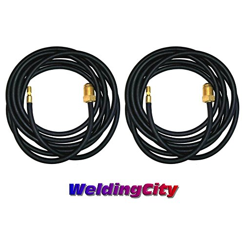 WeldingCity 2-pk 250Amp Power Cable Hose 45V03R 12.5-ft Rubber for Water-Cooled TIG Welding Torch 20 in Lincoln Miller ESAB Weldcraft CK Everlast (Water Cooled Torch)
