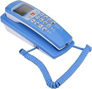 Landline Telephone, FSK/DTMF Caller ID Telephone Corded Telephone Landline Fashion Extension Telephone for Home(Blue)