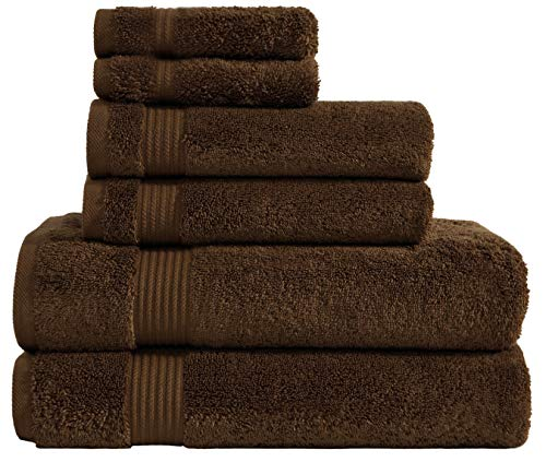 600 GSM Hotel & Spa Quality Super Absorbent & Soft, 6 Piece Turkish Towel Set for Kitchen & Decorative Bathroom Sets Includes 2 Bath Towels 2 Hand Towels 2 Washcloths, Chocolate Brown ()