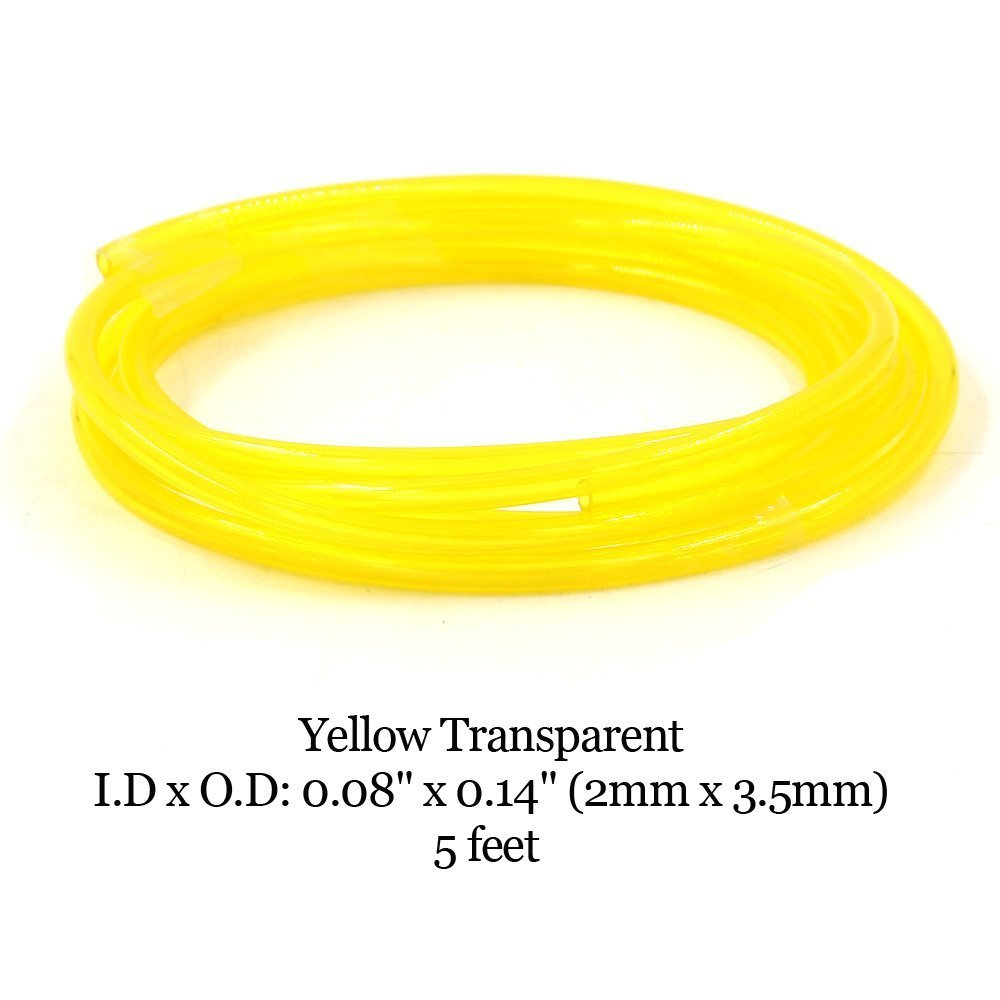 Hilitchi 20-Feet 4 Color Transparent Petrol Fuel Line Hose Lubricant of 4 Sizes Tubing for Weedeater Chainsaw Common 2 Cycle Small Engines