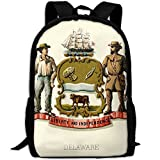 ZQBAAD Delaware State Coat Of Arms Luxury Print Men And Women's Travel Knapsack