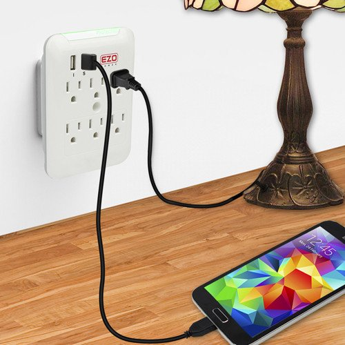 Wall Power Strip EZOPower 6 AC Outlet Mount Plate Surge Charge Protector with 2 USB Charger Ports 2.4A (UL Certified) by EZOPower (Image #6)