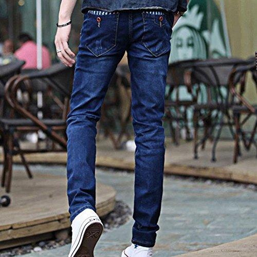 Engrosamiento Rayas Azul Hombres Jeans lápiz Slim Elasticidad Pantalones Denim Juventud nw7wqCXH
