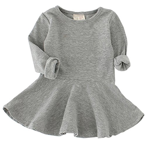 Csbks Toddler Baby Girls Long Sleeve Cotton Dress Solid Ruffle Tops 18 Months Gray