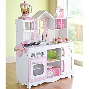 wooden play kitchen accessories cp toys complete wooden pink and white play 1650