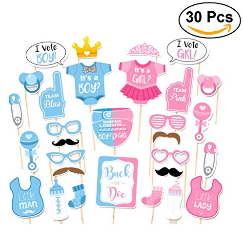 Tinksky Girls Boys Baby Shower Birthday Party Gender Reveal Photo Booth Props on Sticks Set Decorations for Party Favors 30 (Baby Shower Gender Reveal)