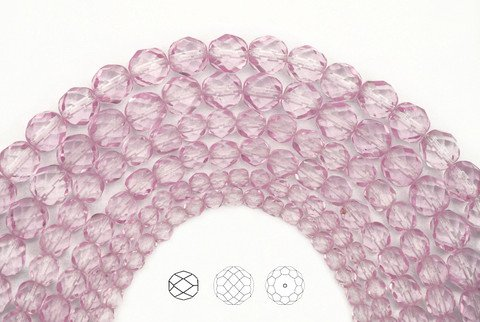 6mm (272pcs) 4 strands, Crystal Pink Shimmer coated, Czech Fire Polished Round Faceted Glass Beads, 16 inch strand