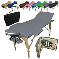 Vivezen Table de massage pliante 3 zones en bois avec panneau Reiki + Accessoires et housse de transport - 10 coloris - Norme CE - Gris