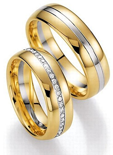 stylish 14k white and yellow gold couples wedding rings 047 ct 65 mm - Couples Wedding Rings