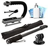 Selfie Monopod Stick Handheld Stick Pole + Opteka MoonGrip Action Stabilizing Video Handle + Mini Tripod + Dust Removal Cleaning Kit for GoPro Hero4 Hero3+ Hero3 Hero2 Hero 4 3+ 3 2 1 Camera Camcorder