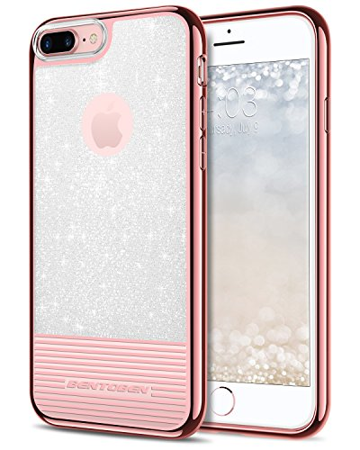 iPhone 8 Plus Case, iPhone 7 Plus Case, BENTOBEN Bling Glitter Clear Drop Protection Hard PC TPU Hybrid Dual Layer Slim Shockproof Stripes Phone Case for iPhone 8 Plus / 7 Plus (5.5 inch) Rose Gold