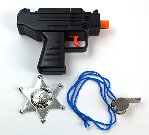 [3-Piece Toy Machine Pistol Bundle Includes 1 Machine Pistol Cap Gun with 1 Whistles and 1 Chrome Finished Badges for Dress-Up and Costume Accessories by Imprints Plus] (Cowboy Dress Up Accessories)