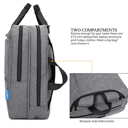 CoolBELL Convertible Messenger Bag Backpack Shoulder Bag Laptop Case Handbag Business Briefcase Multi-Functional Travel Rucksack Fits 17.3 inch Laptop for Men/Women (Grey) by CoolBELL (Image #2)