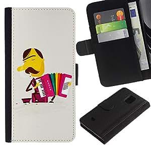 WINCASE (No Para S5) Cuadro Funda Voltear Cuero Ranura Tarjetas TPU Carcasas Protectora Cover Case Para Samsung Galaxy S5 Mini, SM-G800 - arco iris del bigote acordeón