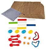 Burlap Potato Sack, 3-Legged Relay Race, Egg Spoon Race, Relay Race Batons – 23-Piece Birthday Party Outdoor Game Set for Field Day, Family and Kids Activity